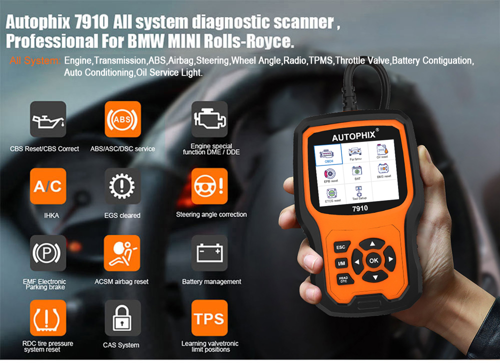 Autophix 7910 Professional OBD2 Scanner For E46 E90 DPF TPMS Oil Reset Full  System Car OBD 2 Diagnostic Tool Support Free Update