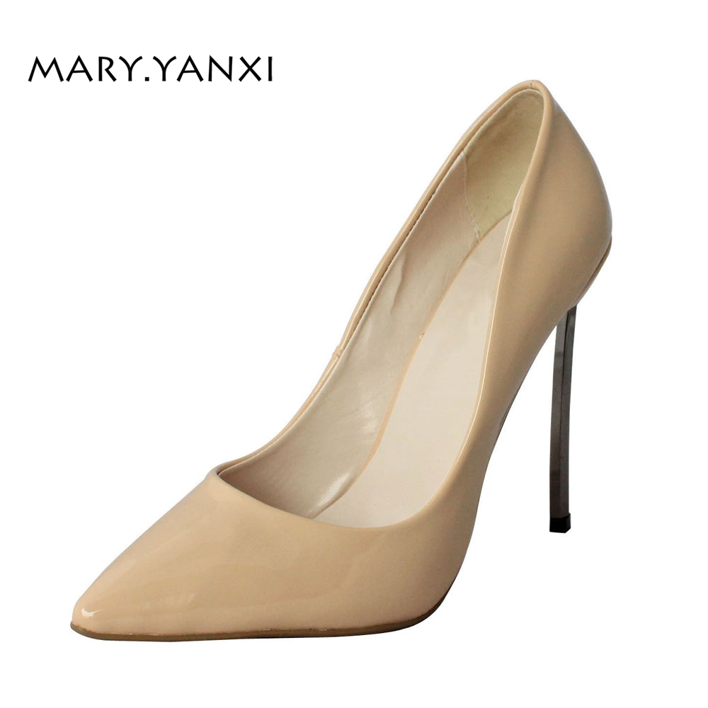 Women Pumps Big Size Lady Shoes Leather Solid High Thin Heels Pointed Toe Casual Fashion Party Sexy Slip-On Shallow big size 40 41 42 women pumps 11 cm thin heels fashion beautiful pointy toe spell color sexy shoes discount sale free shipping