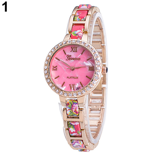715a4c8b4d5 Da menina de Flor de Genebra Strass Números Romanos de Quartzo Pulseira  Vestido Relógio de Pulso