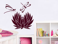 Dragonfly Wall Decal Lotus Flower Namaste Wall Stickers Nursery Decor