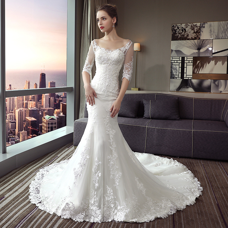Wedding Dress Mermaid Robe De Pearl Lace Appliques Female Vestido De Novia Half Sleeve Elegant Bride Dresses Marriage Gowns