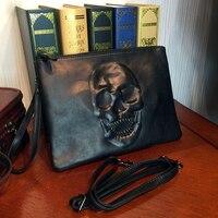 ETONWEAG Beroemde Merken Messenger Bag Mannen Leer Zwart Emboss Schedel Dag Koppelingen Rits Mode Clutch Bag Organizer Polsbandje