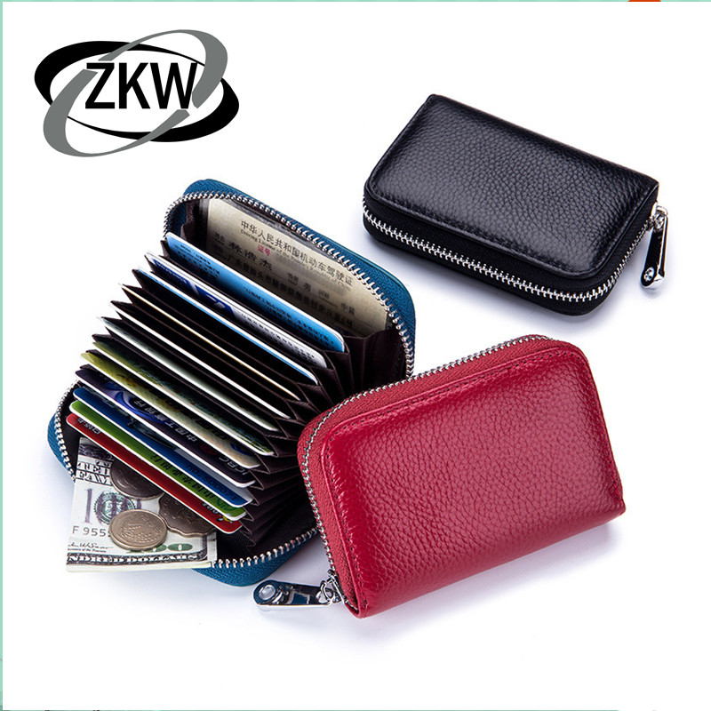 ZKW Genuine Leather Simple Business Card Holder Men\ Women Credit Card ID Holder Case Mini Soft Cowhide Wallet For Card Cover Po