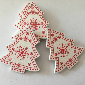 10pcs/set White Red Christmas Tree Ornament Wooden Hanging Pendants Angel Snow Bell Elk Star Christmas Decorations for Home 2