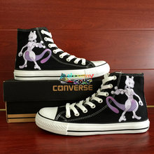 b4af2279a4ce Anime Pokemon Go Converse All Star Women Men Shoes Custom Mewtwo Design Hand  Painted Shoes Boys Girls Sneakers Christmas Gifts