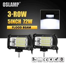 Oslamp 5 дюймов 72 Вт светодио дный работа светлая полоса бездорожья светодио дный Бар Наводнение Луч светодио дный Подсветка грузовик ATV внедорожник 4×4 4WD светодио дный вождения лампы DC12v 24 В