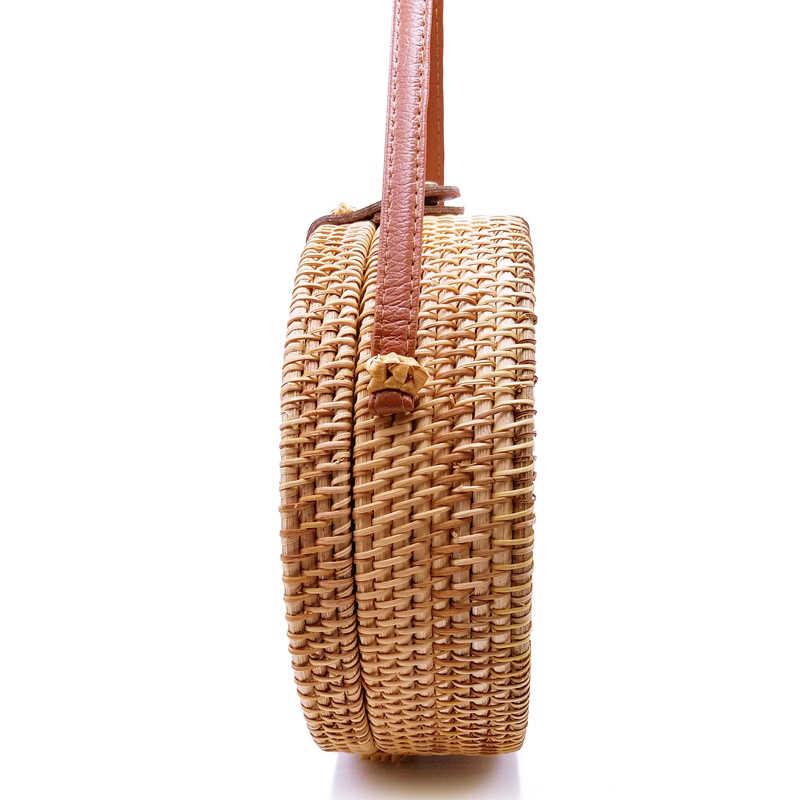 Sacos para As Mulheres 2019 Bohemian Bali Rattan Pequeno Círculo Bolsas de Praia Verão Bolsa de Palha Do Vintage Feitos À Mão saco do mensageiro L26