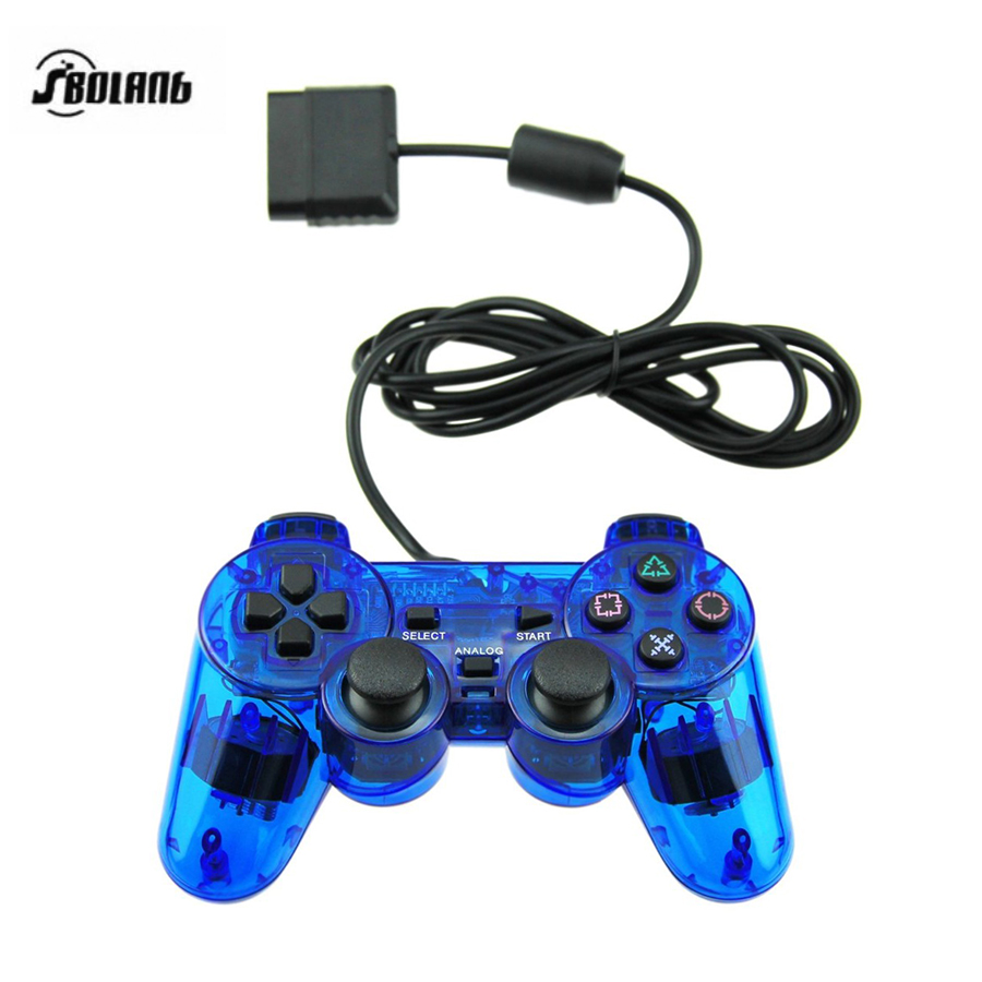 HAOBA 1.5M Wired Controller For PS2 Double Vibration Joystick Gamepad For Playstation 2 Clear Blue/Red
