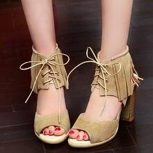 YMECHIC Womens Stable High Heels Gladiator Sandals Pink Black Fringe Rome  Lady Peep Toe Tassel High Heel Sandals Summer Shoes f7b0567eb9c0