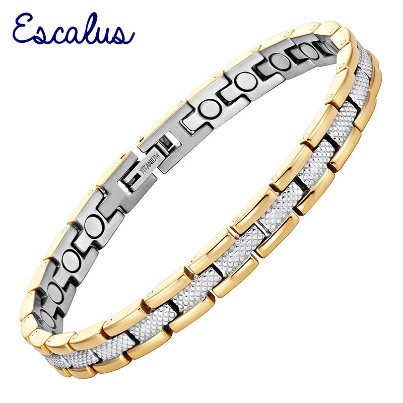 Escalus 2018 Trendy Magnetic Pure Titanium Bracelet For Women 2-Tone Gold Silver Color Link Chain Charm Bracelet New Jewelry цена