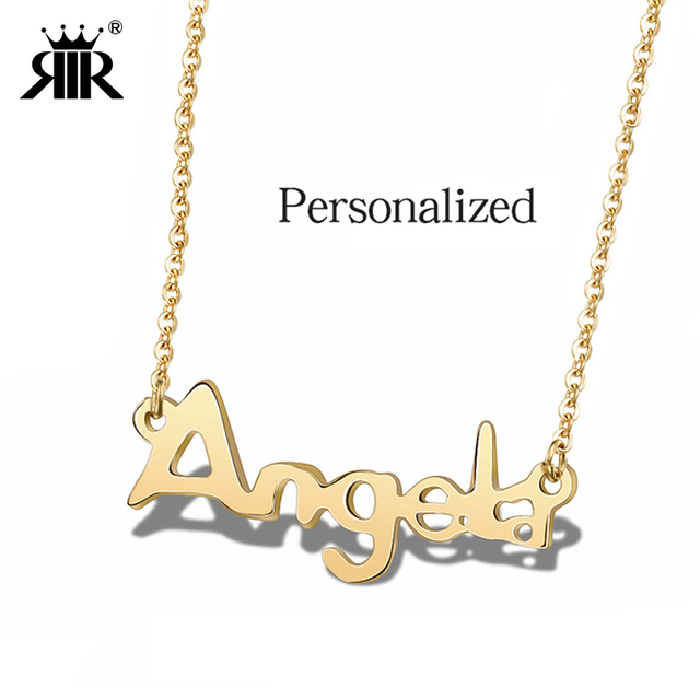 Aliexpress com : Buy RIR Personalized Name Necklace Customized Your Name In  Stainless Steel Letter Pendant Gold Nameplate Necklaces from Reliable