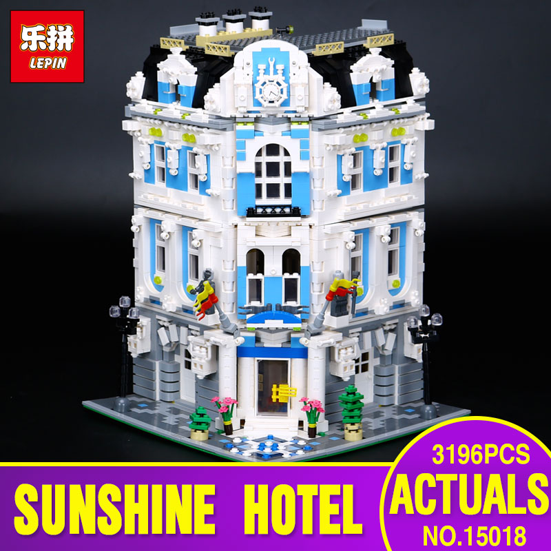 Lepin 15018 3196pcs 2017 New MOC City Series The Sunshine Hotel Set Building Blocks Bricks Toys for children days' gift laete 15018