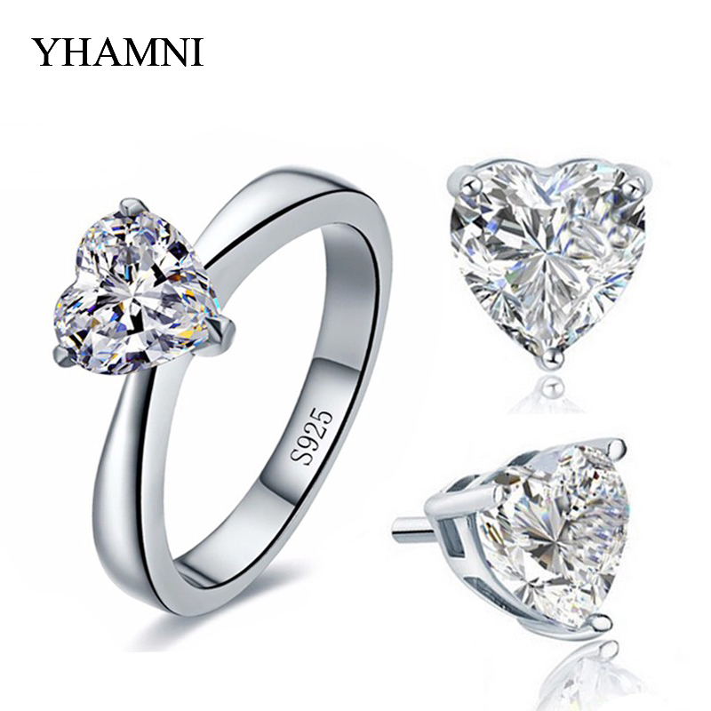 Bridal Wedding Jewelry Sets for Women Real 925 Sterling Silver Heart CZ Stud Earrings Ring Bridal