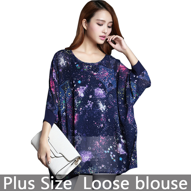 33787135c5c7 Plus Size Women Long Loose Stars Galaxy Blouses   Shirt Flicker Large Size  Casual Summer Chiffon Blouse Shirt Female Top Tees