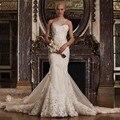 2016 Romantic un hombro por encargo completo Appliques sirena vestidos del cordón del Vestido Noiva novia viste