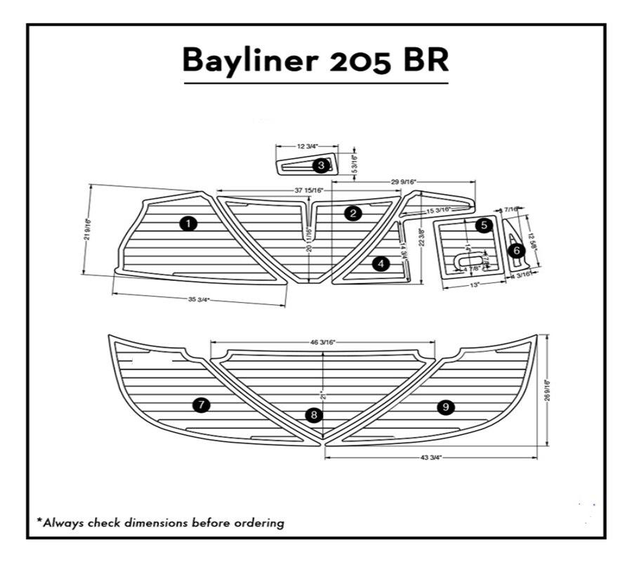 Bayliner 205 BR Swim Platform Pad Boat EVA Teak Decking 1