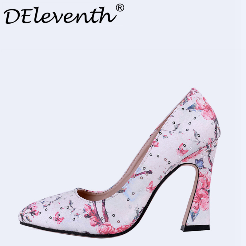 Novelty Women Shoes Summer 2017 Bling Floral Shoes Pumps Peep Toe Stiletto High Heels Wedding Party Shoes Sapato Feminino Red