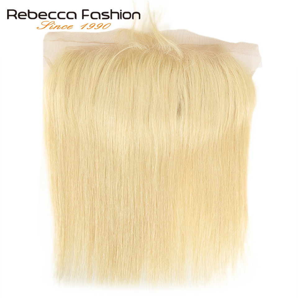 Rebecca Peruvian Straight Hair 613 Blonde Lace Frontal Closure 13x4 Ear To Ear Frontal 100% Remy Human Hair Lace Frontal image
