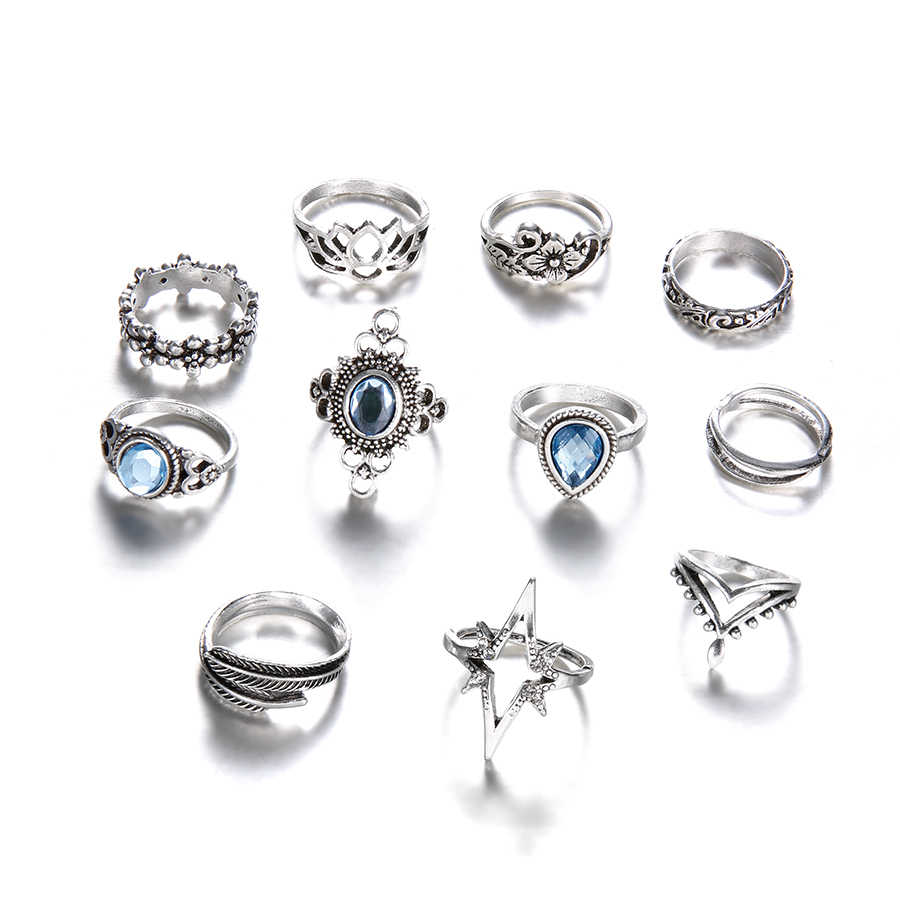 Jewdy boho ringe silber farbe kristall midi ringe set Knuckle schmuck 10 teile/los blatt Geometrische Gypsy Ringe Set