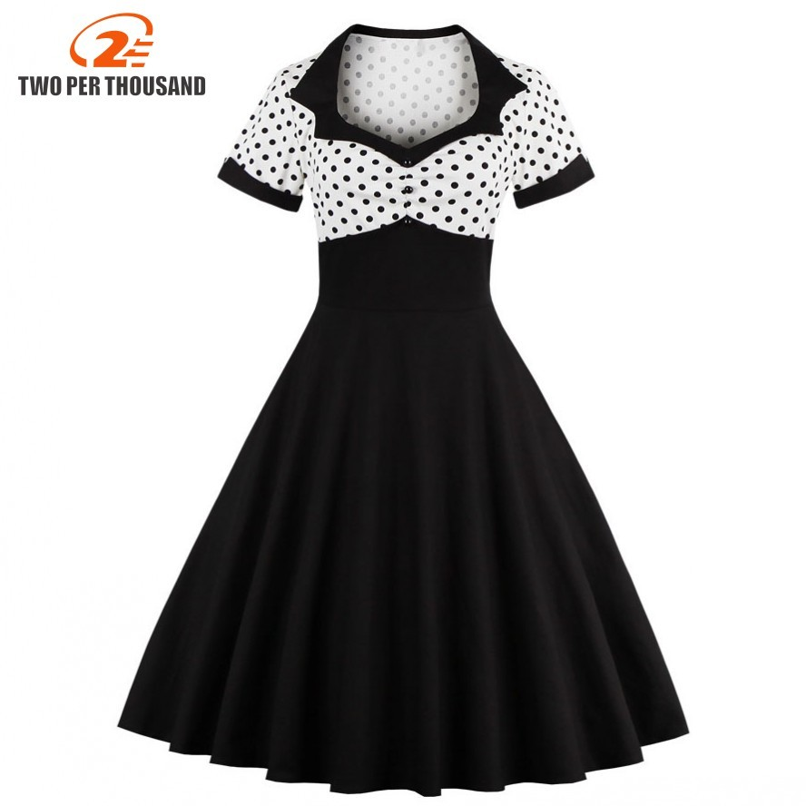 2018 musim panas wanita berpakaian retro 1950 s 60 s dress wanita polka dots pinup rockabilly sexy party dresses vintage tunic vestidos