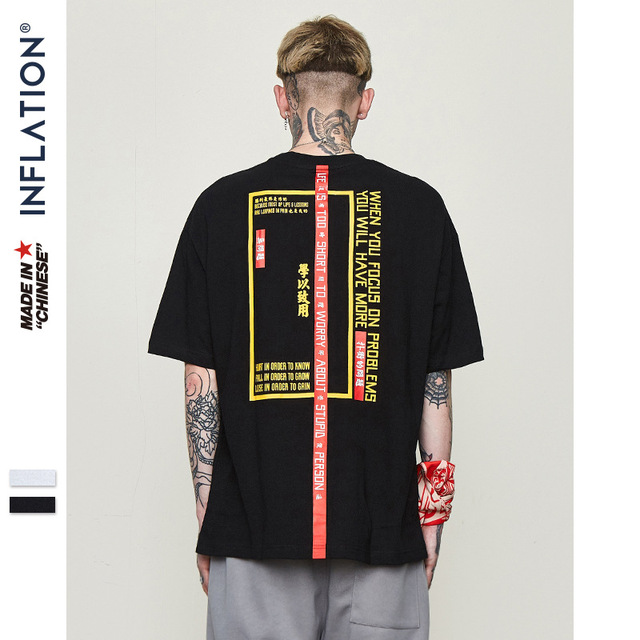 INFLATION 2019 New T-shirt Men Brand Clothing Print T shirt Male Top Quality 100% Cotton Streetwear Men Oversized Tees 8263S