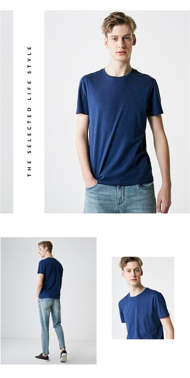 Men's Summer 100% Cotton Pure Color Round Neckline Short-sleeved T-shirt 44