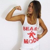 MODO de la BESTIA Mujeres Tanques Top GTM Ropa Ropa De Entrenamiento de Motivación Camiseta Blanca Camisa de Fitness Squat
