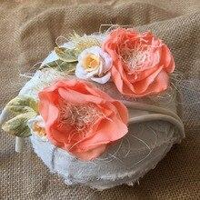 1pcs Newborn organic tieback Satin Flower headband photography props girls headband first birthday crown mom kids shower Tieback