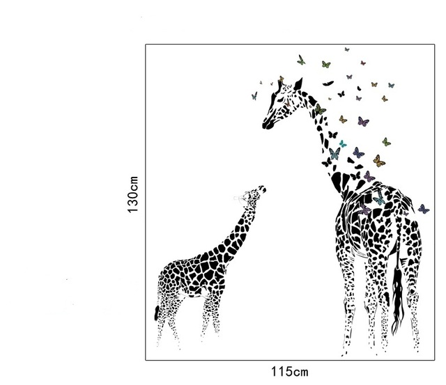 3D two Giraffe Butterfly DIY Vinyl Wall Stickers For Kids Rooms Home Decor Art Decals Wallpaper decoration adesivo de parede 6