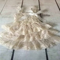 Champagne Flower Girls dress Lace 3 Tiers Baby Girls Dress Chiffon Girls Dress Western Girls Outfit