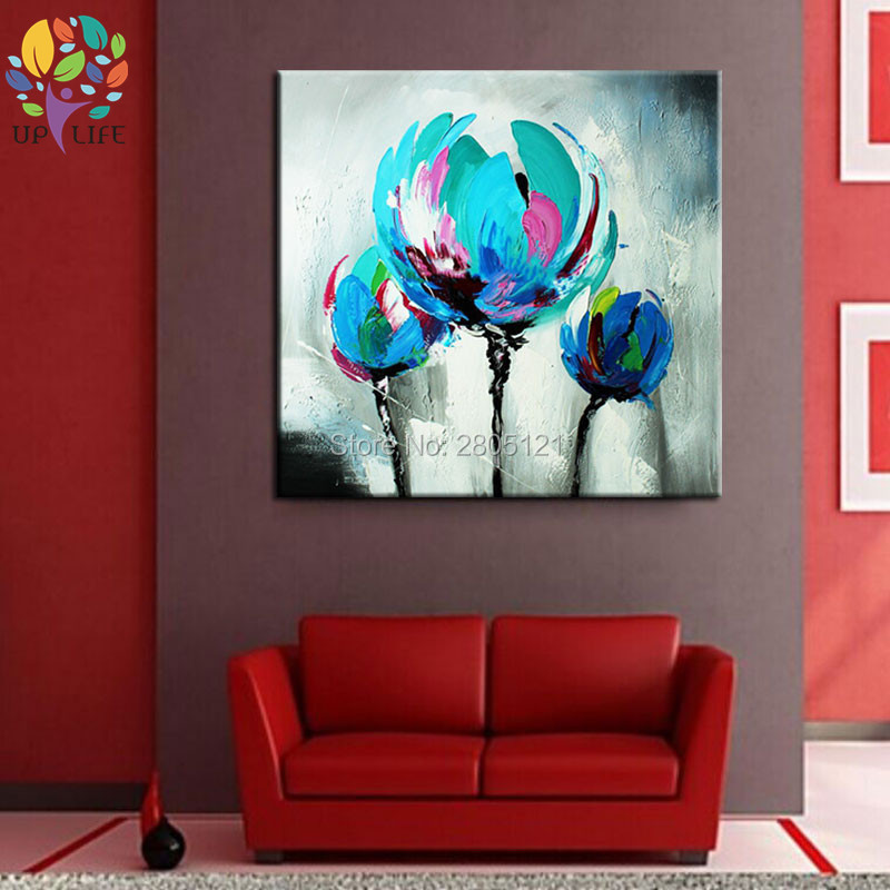 100% Hand made promotion bloom blue Flowers canvas painting Abstract - Home Decor - Photo 4