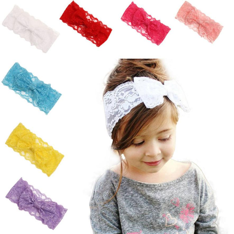 2016 New Fashion Girls Lace Big Bow Hair Band Baby Head Wrap Band Accessories Baby Lacos Elastic Free Shipping