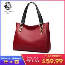 f0099479114d4 LAORENTOU Marke Mode Rindsleder Leder frauen Handtaschen Luxus Rot Schwarz  Schulter Tasche Größere Kapazität Frauen Leder