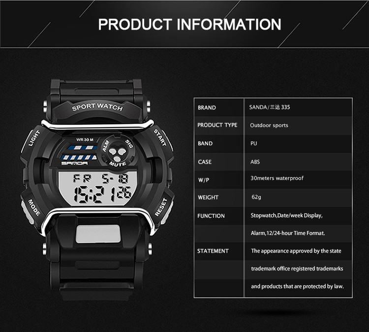 sanda luxury brand led digital watches fashion men\'s sports wristwatches drop shipping (28)