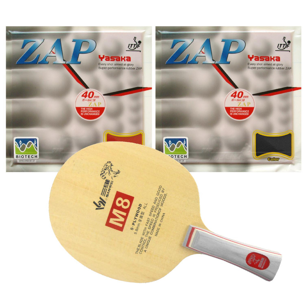 Sanwei M8 Table Tennis Blade With 2x Yasaka ZAP 40mm BIOTECH NO ITTF Rubber With Sponge H36-38 for a PingPong Racket FL palio tct table tennis blade with 2x cj8000 biotech rubber with sponge h40 42 for a ping pong racket