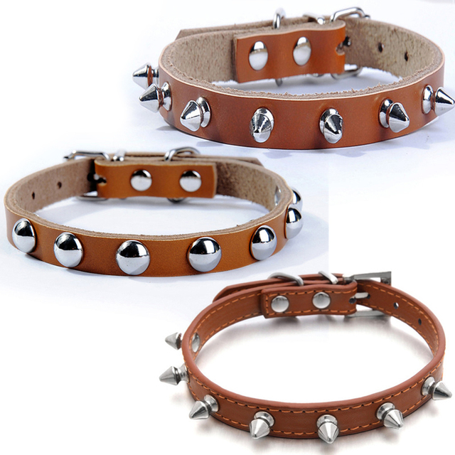 Small Cats Collars Genuine leather Breakaway Kitten Spiked Animals Necklace For Pet Supplies Accessories Leash Dogs Puppy tasmas