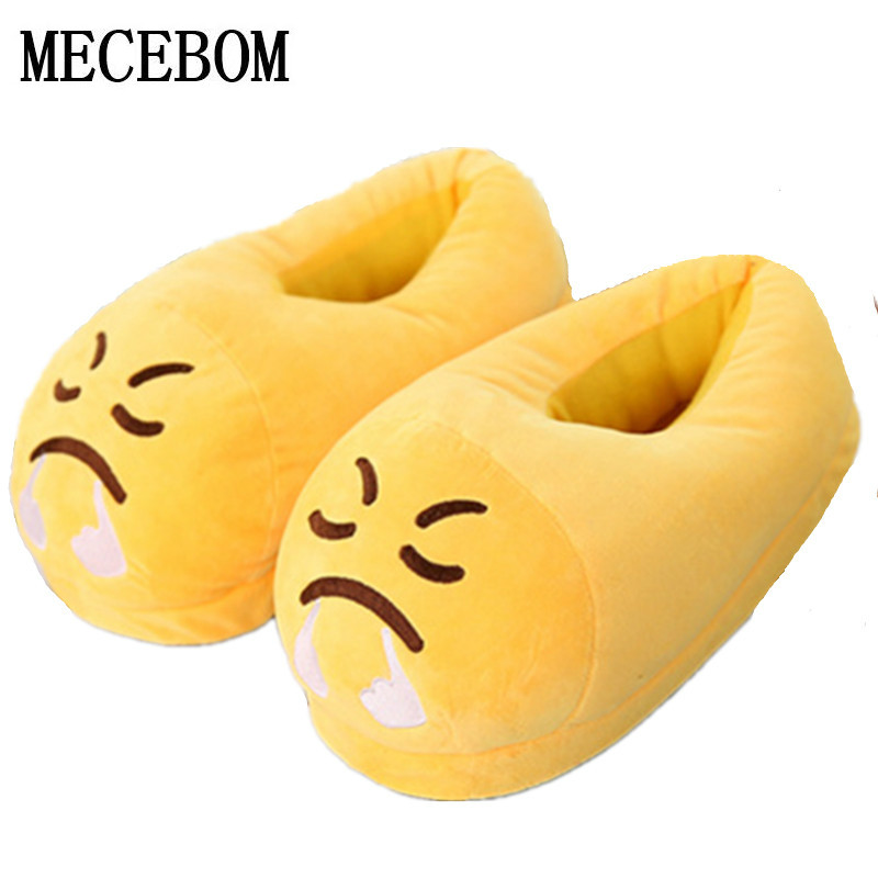 2018 Emoji Slippers Cartoon Sweet Warm Plush Slipper Men Women Slippers Spring/Autumn/Winter House Shoes only one size 0006W sweet cartoon and color block design slippers for women