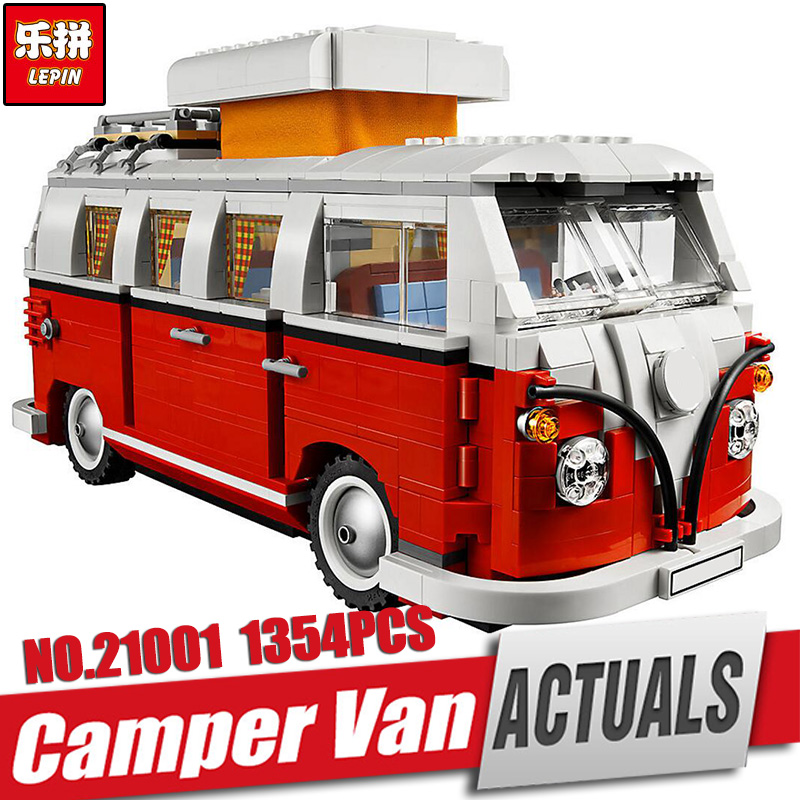 NEW LEPIN 21001 1354pcs Genuine T1 Camper Van Model Educational Building Kits  Bricks with 10220 Gift Toys For Children new lepin 20054 4237pcs creator camper van model building kits bricks toys compatible gifts 10220