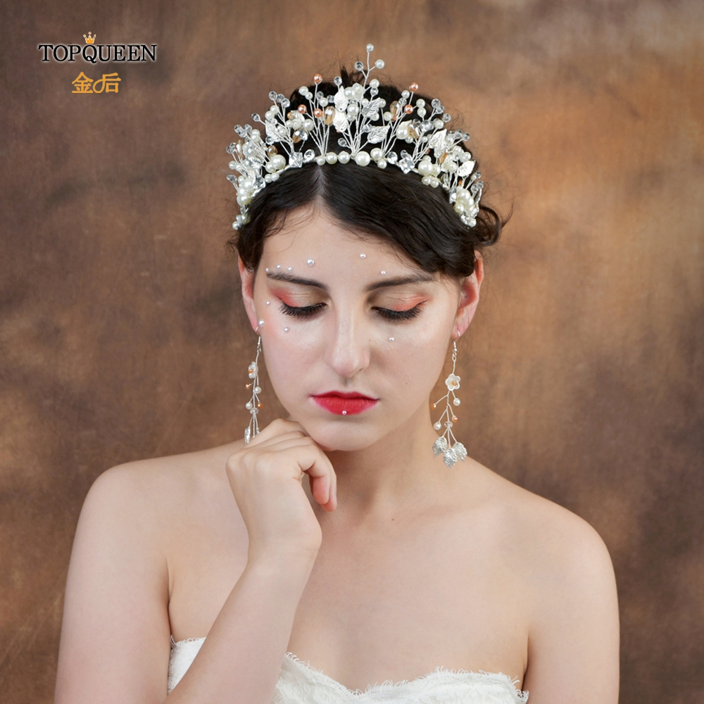 TOPQUEEN HP226-S Sliver Leaves Pearl Bridal Crown Bridal Hair Pieces Bridal Headbands For Wedding Tiara Headband Wedding Tiara