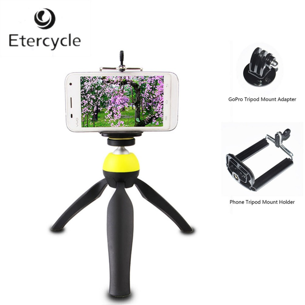 2-en-1 360 Degrés Rotation Caméra Trépied et Main-tenue Selfie Bâtons Pour DSLR Gopro Hero Téléphone, avec Gopro Titulaire Mount Adapter
