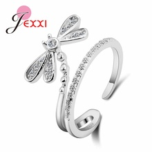 """925 пробы Серебряное милое кольцо со стрекозой, открытый дизайн для молодых девушек, женские вечерние аксессуары, палец """"anillos Bijoux"""""""