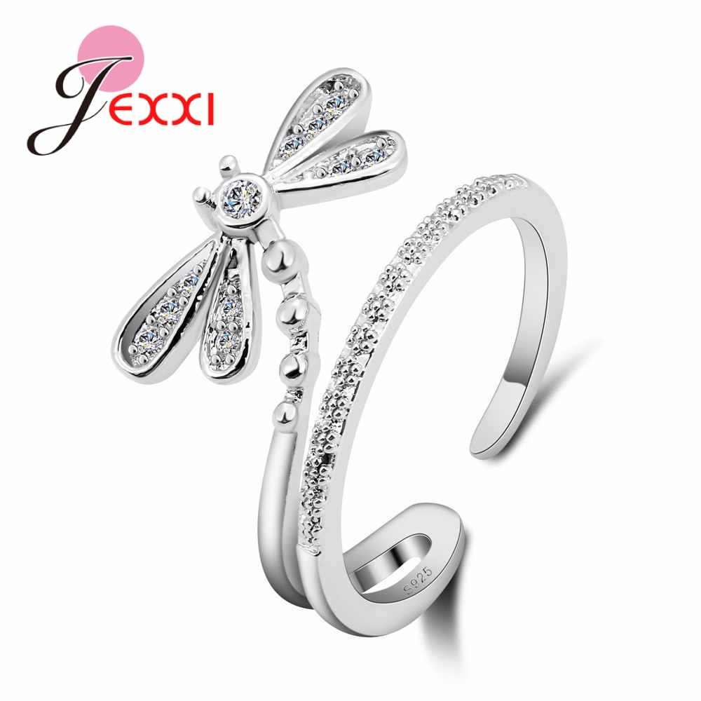 925 Sterling Silver Cute Dragonfly Ring Opened Design For Young Girls Women Party Accessories Finger Anillos Bijoux