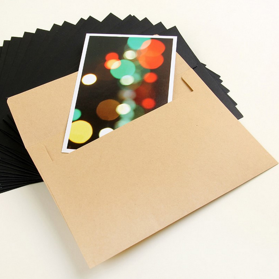 FangNymph 10pcs White Kraft Black Paper Envelope Message Card Letter Stationary Storage Paper Gift School Supplie Stationer