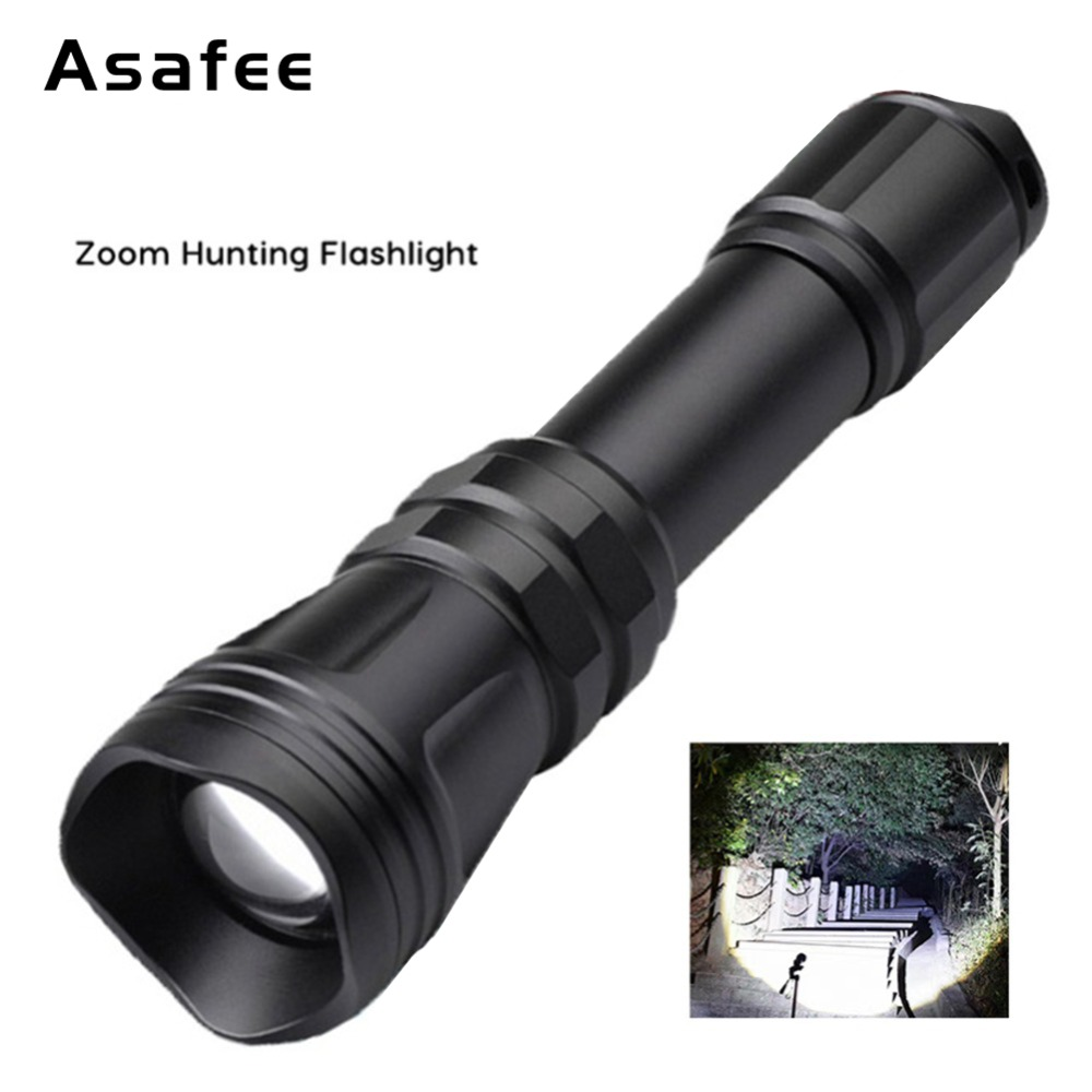 Asafee B168 Night Hunting Flashlight Waterproof Zoomable Cree XM-L2 U4 LED Rechargeable Torch Tactical Hunting Outdoor Light scuba dive light