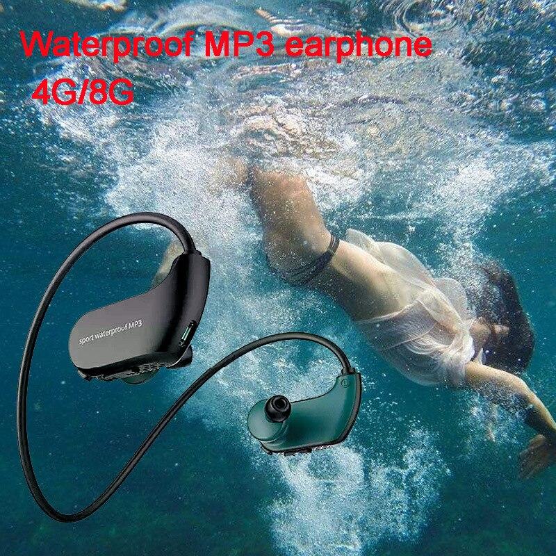 IPX8 moda Ao Ar Livre À Prova D' Água de Natação MP3 Jogador Esporte Fone De Ouvido de Música de Alta Fidelidade 4G/8G Memória Mergulho Correndo À Prova de Poeira fones de ouvido