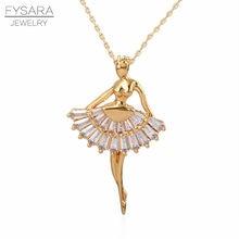 FASARA – Collier à breloques pour femmes, pendentif de danse, de ballerine, de Ballet, bijoux en Gros, Collier d'amour en cristaux