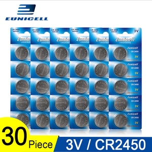 30pcs=6 Cards Eunicell 350mAh CR2450 CR 2450 ECR2450 KCR2450 5029LC LM2450 button cell coin battery 3V lithium watch Batteries(China)
