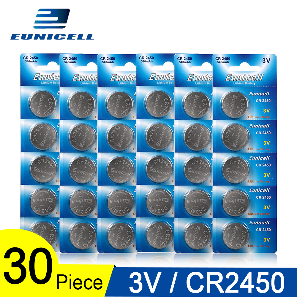 30pcs=6 Cards Eunicell 350mAh CR2450 CR 2450 ECR2450 KCR2450 5029LC LM2450 button cell coin battery 3V lithium watch Batteries