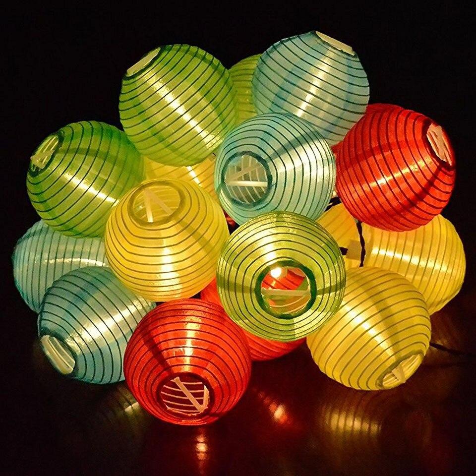 Lantern shape Multy color solor powered LED Lamp LED strip light 10/20/30 LED outdoor garden light party decoration in backyard
