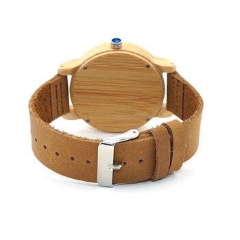 Ã�ボ鳥ファッションデザインメンズ竹腕時計本物の牛革革バンド腕時計男性用と女性レロジオ Masculino C-A22